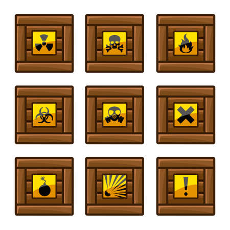 Wooden crates with danger signs Stock Vector - 24601588