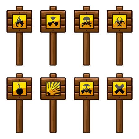 warning signs: Wooden warning signs