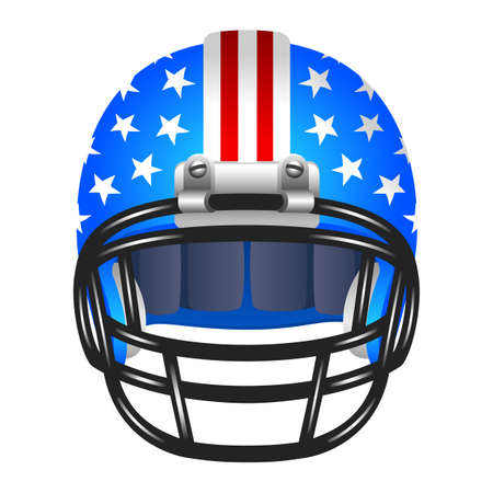 blue helmet: Football helmet with stripes and stars Illustration