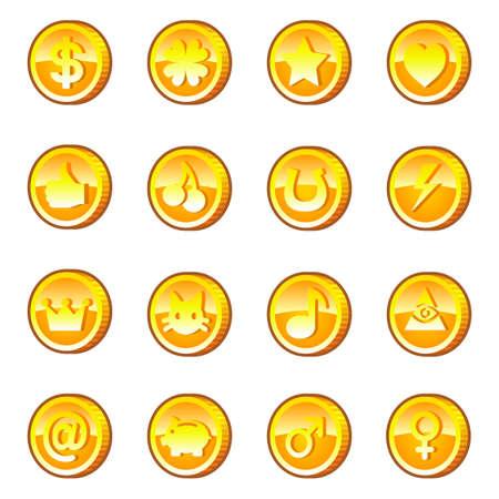 Set of gold coins Illustration