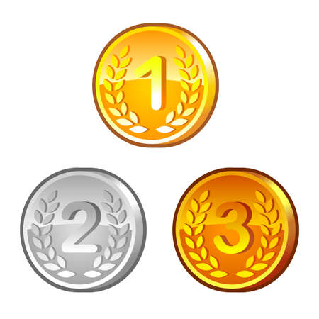 numerals: Medals with numerals Illustration