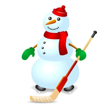 Ice hockey snowman Vector