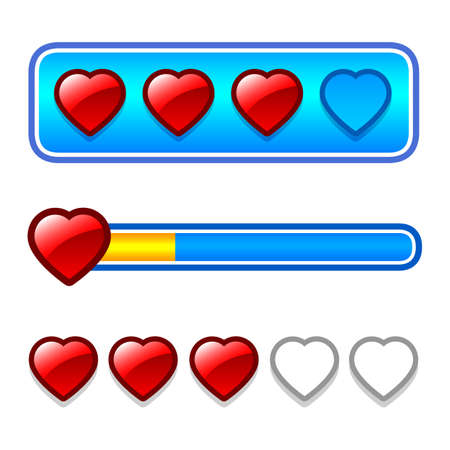 energy ranking: Progress bar set with hearts Illustration
