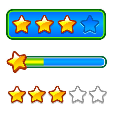 energy ranking: Progress bar set with stars Illustration