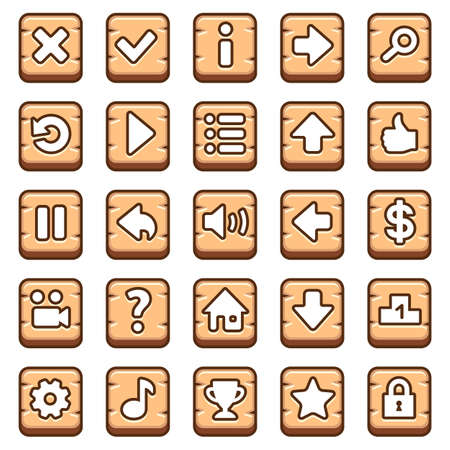 Wooden game buttons Illustration