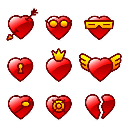 Funny hearts Illustration