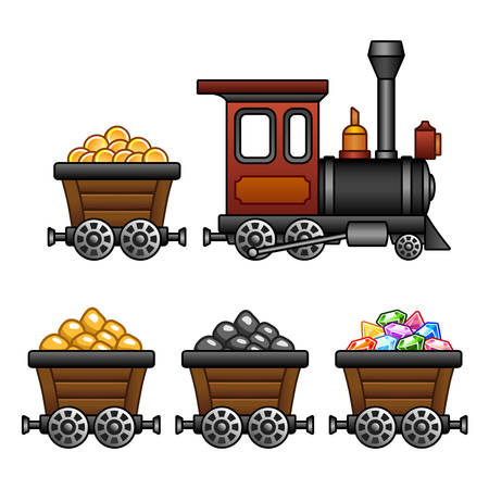 coal mine: Train with mine tubs
