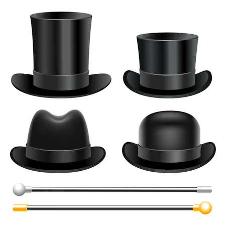 Hats and walking sticks  イラスト・ベクター素材