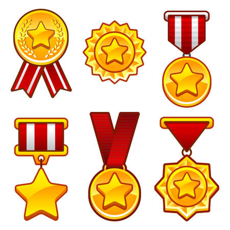 cartoon star: Medals with star