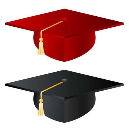 graduados: Sombrero de la graduaci�n de la escuela Vectores