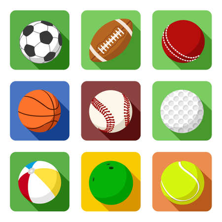 cricket ball: Flat sport icons