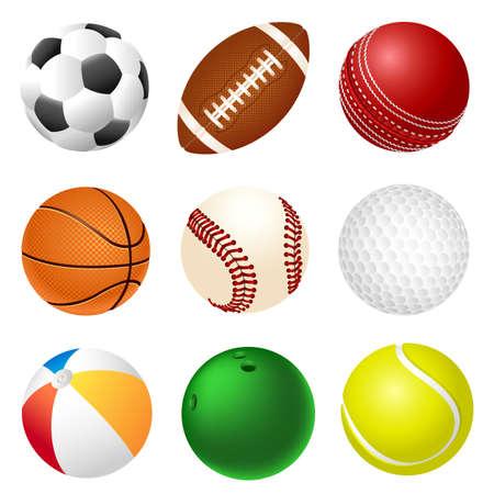Conjunto de diferentes bolas en el deporte