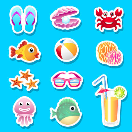 Beach set stickers Vector