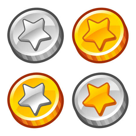 gold and silver coins: Star coins