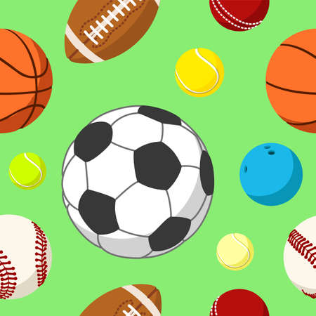 Seamless background tile with sport balls. Vector