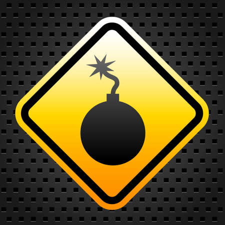 threat: Warning sign with bomb