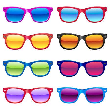 다른 태양 안경 세트