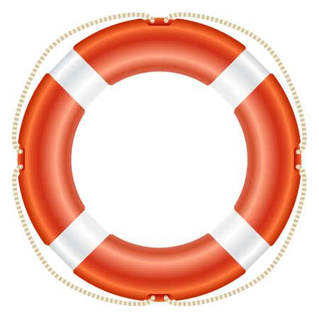 Realistic illustration with orange lifebouy Illustration
