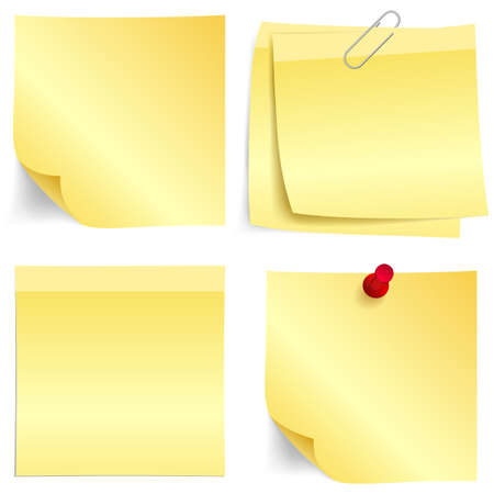 metal post: Illustration set of sticky yellow papers Illustration