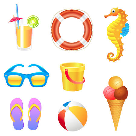 Set of different beach items Illustration
