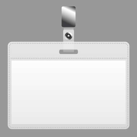 cardholder: Blank badge with ID card design on gray background. Illustration