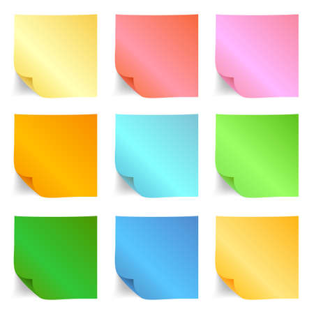 Set of different sticky note papers