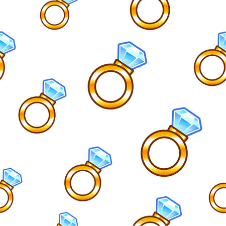 Seamless background design with diamond rings Vector