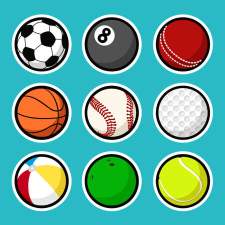 Set of sport icons in flat style. Vector