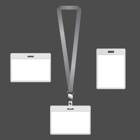 Blank Lanyard Abzeichen mit ID-Karte Design auf grauem Hintergrund.