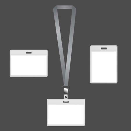 Blank lanyard badges with ID card design on gray background. Иллюстрация