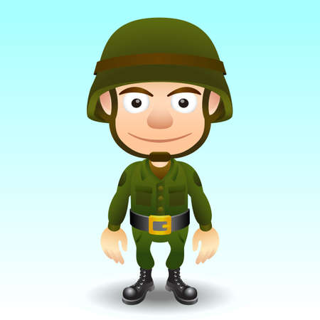 Cartoon soldier charachter for your game designs. Vector
