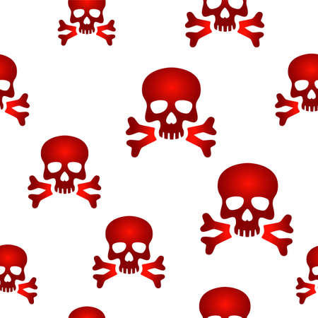 Seamless background design with red skull signs. Stock Vector - 27523221