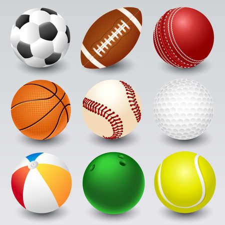 cricket ball: Set of sport icons in realistic style.