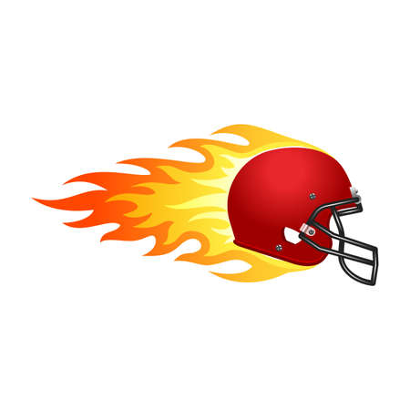 Illustration of football helmet in fire for your designs