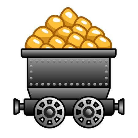 gold mine: Iron mine cart with gold  Illustration
