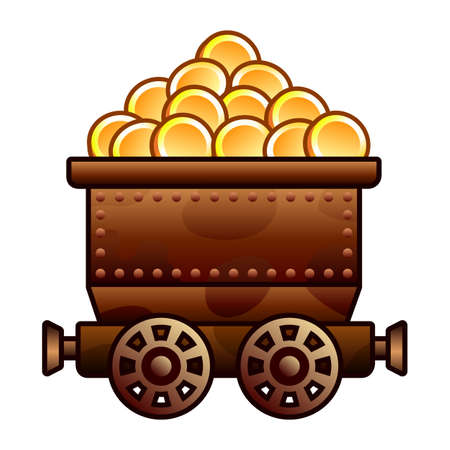 Iron mine cart with coins for your designs