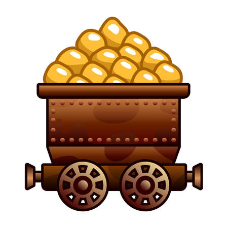 Iron mine cart with diamonds for your designs
