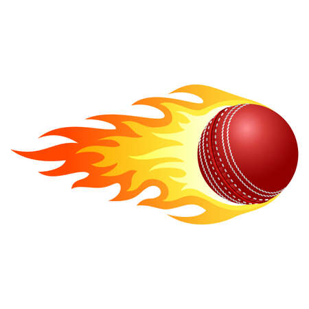 cricket ball: Illustration of ball in fire for your designs  Illustration