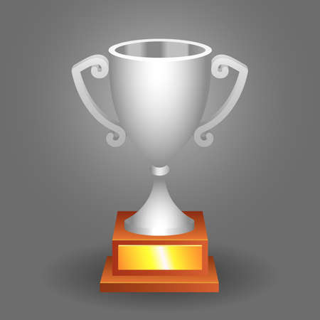 Trophy bronze cup on a dark background for your designs. Vector