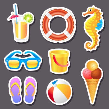 Set of different beach stickers for your design. Vector