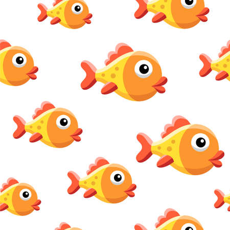 Seamless background design with funny gold fish. Vector