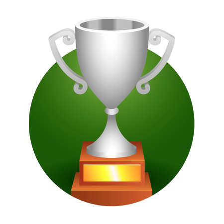 Trophy bronze cup on a green background for your designs. Vector