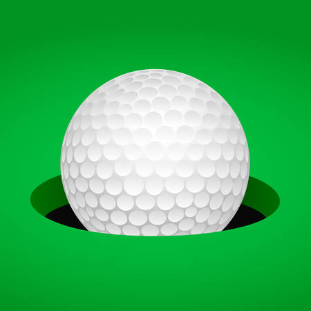 White golf ball in cup on the green field. Vector