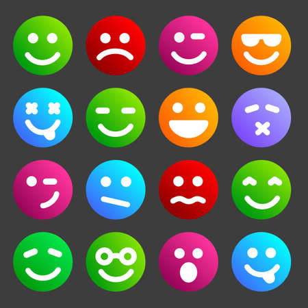 Flat and round smiley icons for your design.