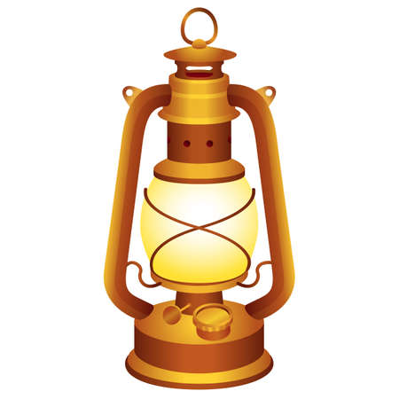 kerosene: Old and vintage lantern for your design. Illustration