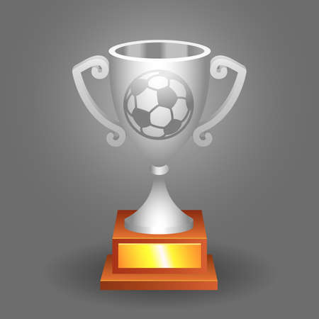 Soccer, football silver trophy cup with ball on a background  Vector