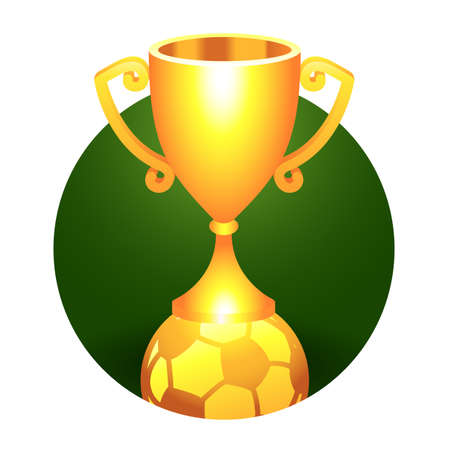 Soccer gold trophy cup with ball  for your design  Vector