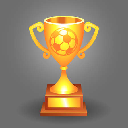Soccer, football gold trophy cup with ball on a background  Vector
