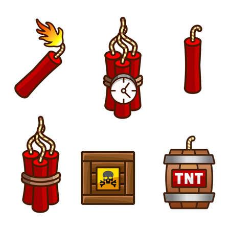 dinamita: Set con tnt, explosivos, detonadores y dinamita Vectores