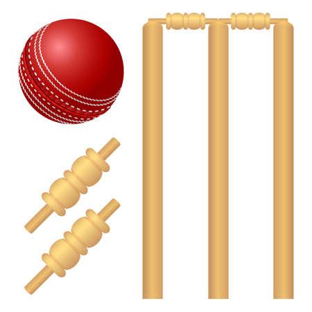 Cricket-Ball und Stumpf isoliert auf weiß